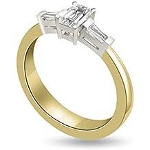 0.40ct F/VS1 Diamante Trilogy Anello da Donna con Smeraldo & Baguette diamanti in 18kt Oro Bianco e Giallo - Smeraldo Baguette Anello