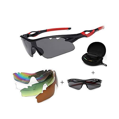 JIGAN Sport-Sonnenbrille, UV 400 Protection Windproof Radsportbrille mit 4 auswechselbaren Gläsern,redBstyle
