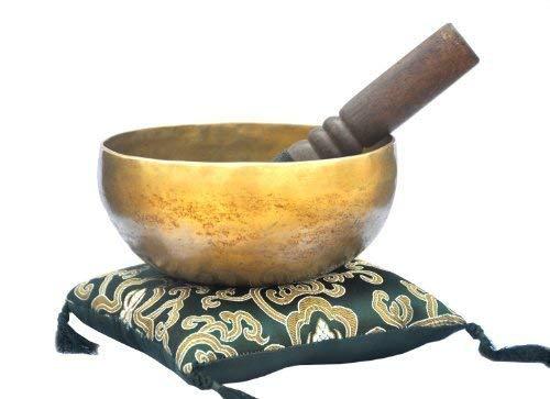 15,2 cm hervorragende B Kronenchakra alte tibetische Klangschale, Meditationsschalen, handgeschlagene Klangschale aus Nepal, Klangschalen mit grünem Kissen und Holzhammer