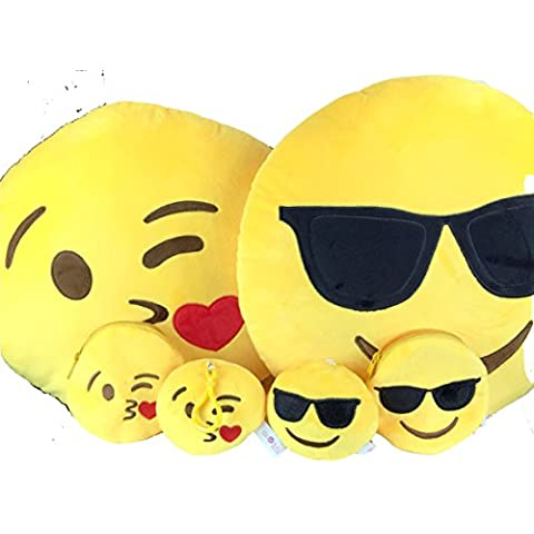 Emoji Cuscino Free portachiavi catena e morbido denaro Portafoglio Portamonete Smiley Fake Poop Throw cuscino emoticon Cute a forma di peluche Love Giallo Rotondo Marrone Set Regalo Grande giocattolo divertente Merchandise – Accessori tutto per bambini prime (Poop) Cool & Kisses