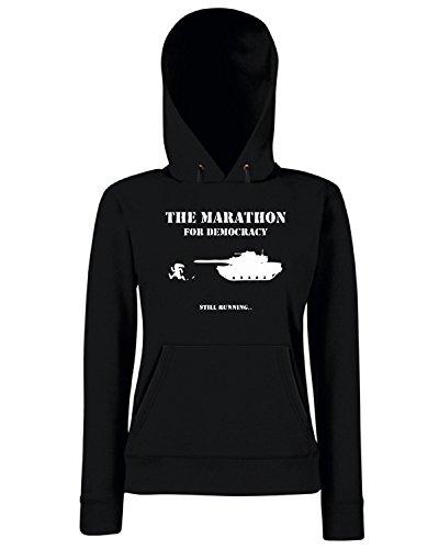 T-Shirtshock - Sweats a capuche Femme TM0456 maraton for democracy Noir