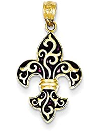 14ct Yellow Gold Polished and Black Enamel Fleur De Lis Pendant