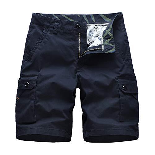 CHLCH Herren Sport Shorts Jogginghose KordelzugMulti-Pocket-Shorts Baumwolle dunkelblau 28