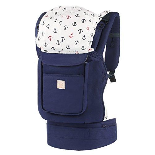GAGAKU Ergonomische Baumwoll Babytrage Rücken mit Abnehmbarer Kapuze 5-48 Monate (5,5-15 kg) - Blau