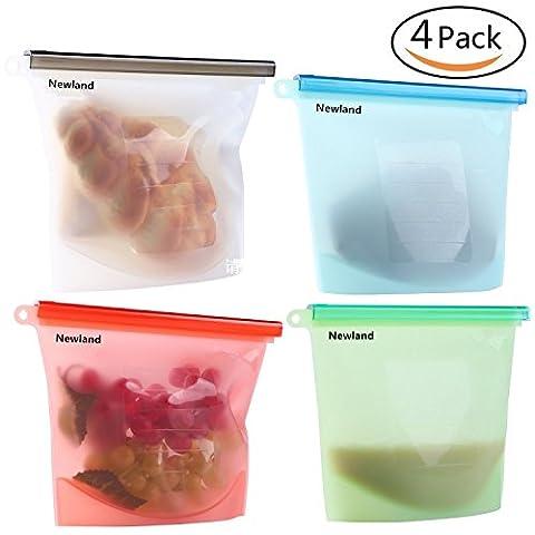Reusable Silicone Food Storage Bag, Newland Food Grade Versatile Preservation Bag Container for Fruits Vegetables Meat (Set of
