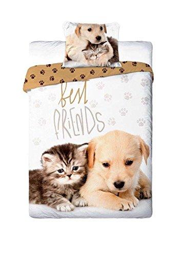 Best Friends - Juego de sábanas para cama individual con diseño de cachorro de perro y gato, funda nórdica de 160x 200 cm, dealgodón, ropa de cama