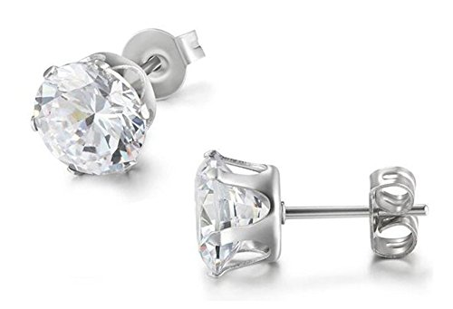 Hosaire 1 Pair 5mm Stainless Steel Round Cubic Zirconia Inlaid Stud Earrings Mens Womens