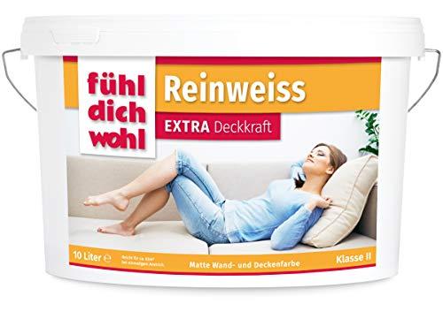 FühlDichWohl Reinweiss Extra - sehr hohe Deckkraft10l - matte Innenfarbe weiß - Deckenfarbe