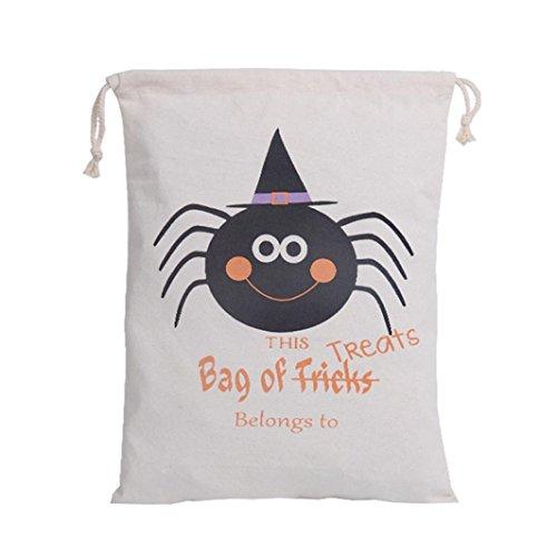 Sacchetto di Halloween, Longra Sacchetto del drawstring del sacchetto di stivaggio di Halloween della tela di canapa B