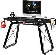 Mahmayi Engineered Wood Ultimate Modern Gaming Table, W146 x D68.5 x H76cm, Black, GT010-Gm-Tble