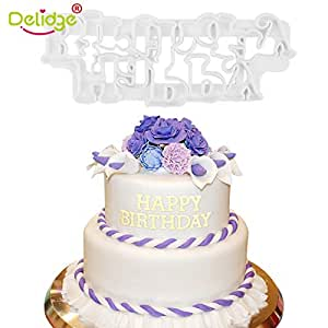 Image Unavailable Not Available For Colour KITCHY Delidge 1PC Happy Birthday Cake Fondant Cutter