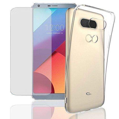 Eximmobile Silikon Case + Panzerfolie für LG K9 Handyhülle mit 9H Echt Glasfolie Schutzhülle mit Glas Schutzfolie Handytasche Silikonhülle Tasche Hülle Bildschirmschutzfolie Bildschirmschutz