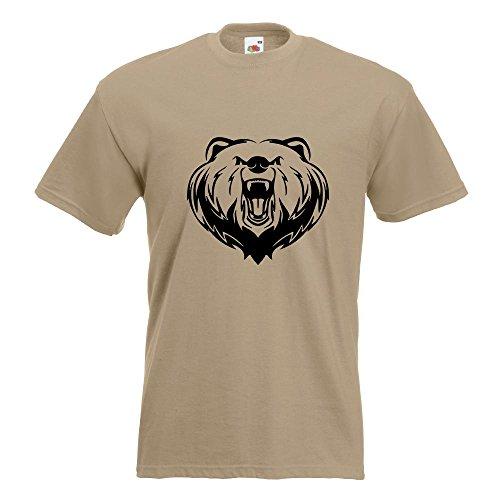 Kiwistar Grizzly Bear - Bär - T-Shirt in 15 Verschiedenen Farben - Herren Funshirt Bedruckt Design Sprüche Spruch Motive Oberteil Baumwolle Print Größe S M L XL XXL Khaki