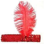 Iyhouse Paillette Showgirl fête flapper Bandeau Coiffe avec plumes Plume, Red