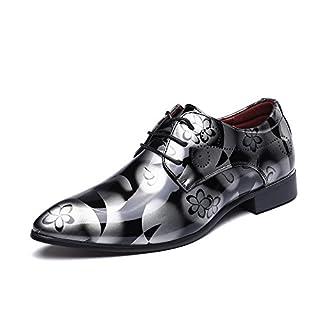 Anzugschuhe Business Herren, Lederschuhe Schnürhalbschuhe Oxford Smoking Schuhe Lackleder Hochzeit Derby Männer Leder Braun Blau Grau Rot 37-50 GY45