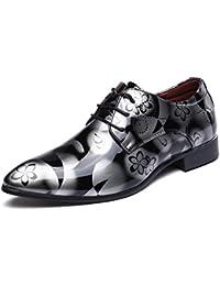 Zapatos Oxford Hombre, Cuero Cordones Vestir Derby Calzado Boda Negocios Marron Azul Gris Rojo 37