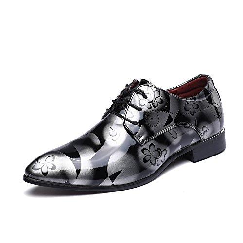 Anzugschuhe Business Herren, Lederschuhe Lackleder Hochzeit Derby Schnürhalbschuhe Oxford Smoking Schuhe Männer Leder Braun Blau Grau Rot 37-50 GY47