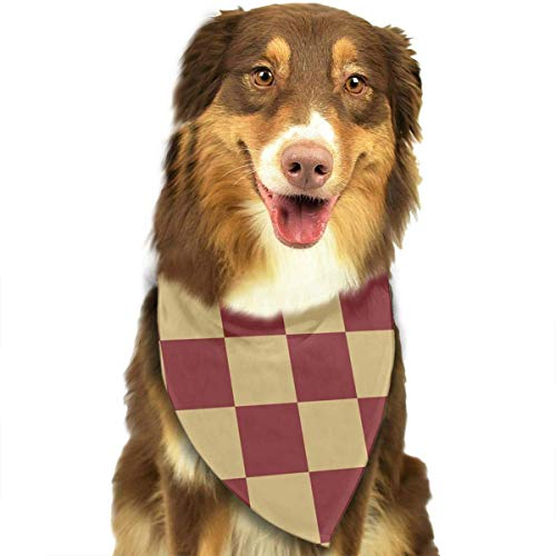 (deyhfef Red and Brown Plaid Pattern Pet Dog Bandanas Triangle Bib Scarf Accessories for Dogs, Cats, Pets Animals)