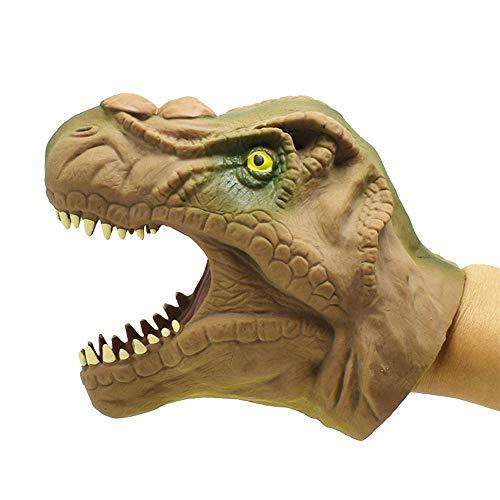 Toyfun Dinosaur Hand Puppet Toys, Soft Vinyl Rubber Realistic Animal Head Doll Model Kids Costume Finger Gloves, for Kids Boys Girls Gifts(Brown)