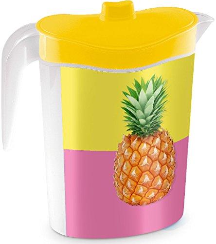 Kigima Getränkekanne Saftkanne 1,5l mit fest sitzendem Deckel und Dekor gelb