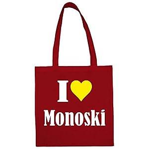 Tasche I Love Monoski Größe 38x42 Farbe Rot Druck Weiss
