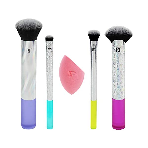Real Techniques – Juego de brochas de maquillaje con luces de neón, incluye esponja milagrosa (edición limitada 2018)