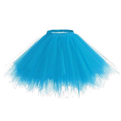 Caissen Damen Vintage Elastisch Puffy Tüll Tütü Röcke Petticoat Ballett Blase Ballkleid Mehrfarbengroß Unterröcke Blau (Roll Elastischen Bund)