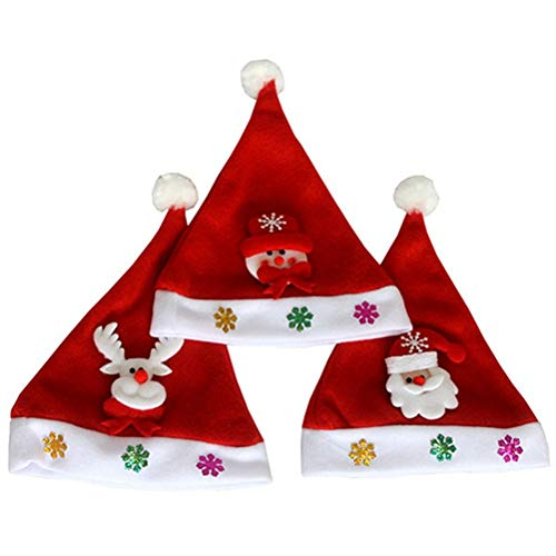 PRETYZOOM 3PCS LED Lampeggiante Cappello di Natale Luminoso cap per Adulti  (Renna Pupazzo di Neve e Babbo Natale) fa87e0239695
