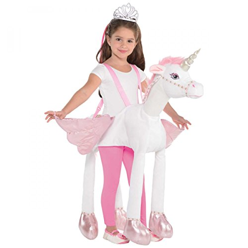 Image of Ride on Unicorn Girls Fancy Dress Animal Fairy Tale Book Day Kids Childs Costume