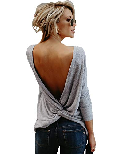 Mujeres Backless Sleeveless Tank Top con Espalda Abierta Nudo Casual Shirt tee (Manche Longue Gris, L : 42/44)