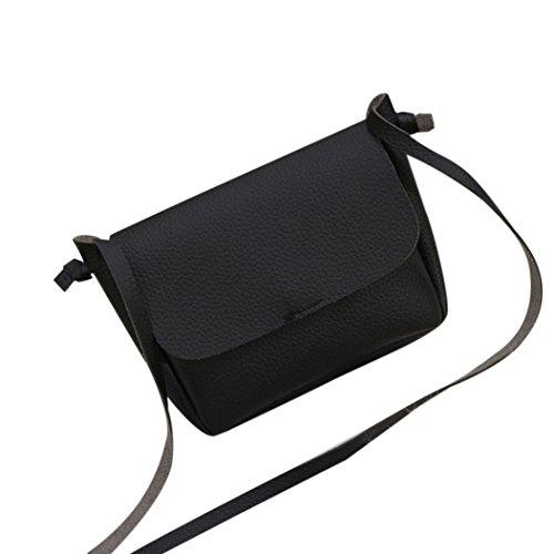Koly_Nuove donne di modo di cuoio sintetico di spalla dell'arco casuale della borsa (Nero)