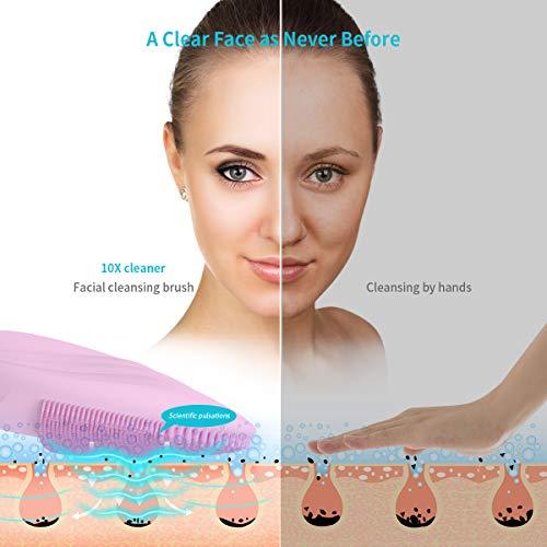 Silicona Cepillo de Limpieza Facial -  Xpreen USB Recargable IPX7 Resistente al Agua Cepillo Facial de Masajeador Facial Eléctrico para Limpieza Facial y Masaje