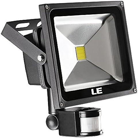 LE Foco proyector LED 30W para exteriores con sensor, equivalencia SAP 75W, 2100lm, blanco frío 6000K, resistente al agua IP65, luz amplia, luz de seguridad, bañador de pared