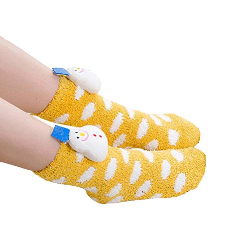 HEHEM Christmas Socks Cute Socks Christmas Breathable Warm Socks Women Girls Mesh Christmas Print Floral Towel Warm Short Cartoon Thick Socks