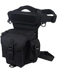 Senderismo Exterior Militar Táctico muslo Pierna Cintura Pack Bolsa de Pesca para 1000d Cordura Utilidad, negro
