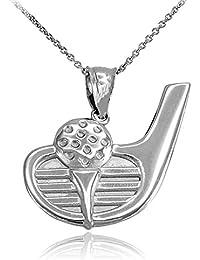 925 Sterling Silber Golf Club Ball Damen Anhänger Halskette (Kommt mit eine 45 cm kette)