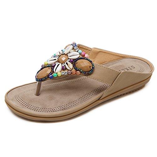 DENGBOSN Doux Fashion Perlée Clip Toe Flats Femmes Sandales Herringbone Bohême beige1