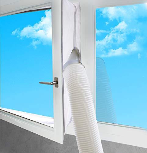 SUNTEC Air-Block-Klima Sail [Zubehör-Set für mobile lokale Klimageräte, Praktisches Segel zur Abdichtung von Fenstern/Türen inklusive Reißverschluss-Öffnung, Einfache Fixierung + Rückstandslose Entfernung] - 2