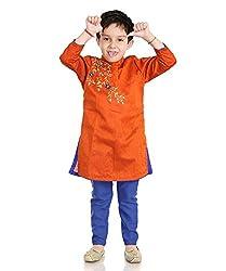 Little pocket store Orange And Blue Solid Cotton Kurta And Pajama Set