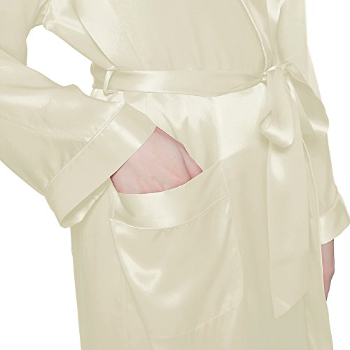 LILYSILK Robe de Chambre 100% Soie Femme Style Kimono au Genou 22 Momme Beige