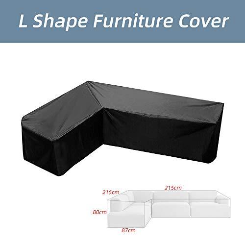 Souarts L Form Abdeckung für Gartenmöbel Wasserdicht Schutzhülle für Loungemöbel Staubdicht Regenschutz für Terrassenmöbel