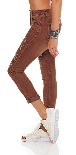SKUTARI Damen - Skinny Jeanshose Pailletten Strass Braun 2