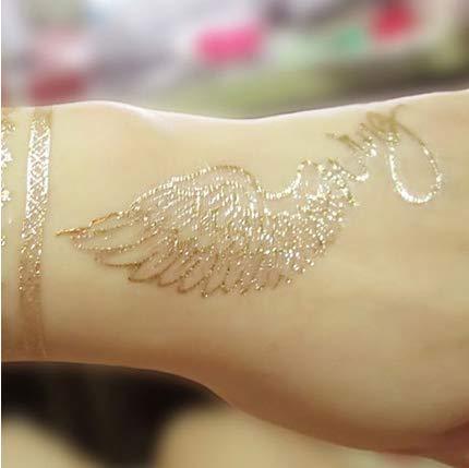 Tattoo Snare Stab Gold Hot Silber Angel Wings Persönlichkeit Simulation Wasserdicht Langlebig Männliche und weibliche Hände und Füße Tattoo