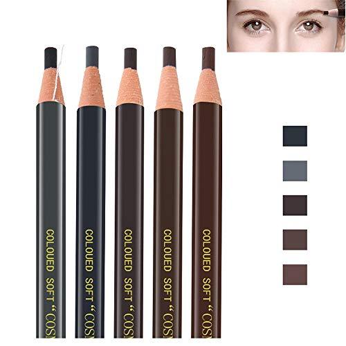 Pinkiou Lápices de cejas Marrón, Marrón oscuro, Marrón claro, Negro, Gris, Bolígrafos extraíbles (5 piezas)
