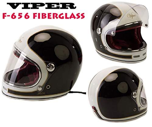 CASCHI Moto - Viper F656 Casco in Fibra di Vetro Nuovi Vintage Stile Casco  Moto Integrale 9eb4aea77da4