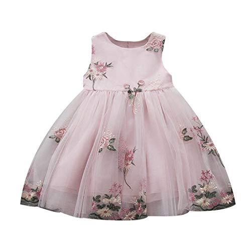 Staresen Sommer Kinderkleidung Baby Prinzessin Kleid Ärmelloses Kinderkleid Gestickter Blumen Mesh Rock Mädchen Kleid Rock Festkleid Freizeitkleidung Geburtstagsgeschenk (80/6, Rosa)