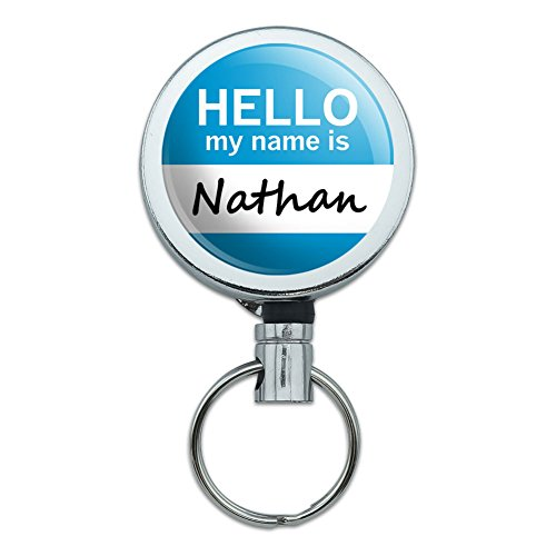 Mo Bekleidung (Metall Retractable Reel ID Badge Key Halter mit Gürtelclip Hello My Name Is mo-no Nathan)