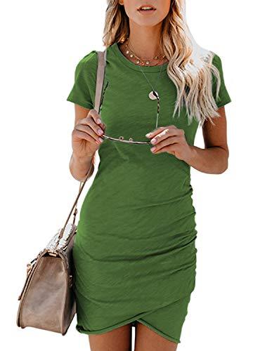 Bequemer Laden Damen Sexy Sommerkleid Einfarbig Minikleid Rundhals Kurzarm Partykleid Cocktailkleid...