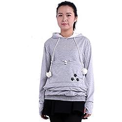 saianke Ladies Sudaderas con capucha soporte para mascota gato perro canguro Carriers Pullover Gris gris Large