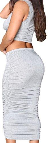erdbeerloft - Damen Zweiteiliges Set Crop Top und langer Rock, hauteng, One Size-One Size, viele Farben Grau